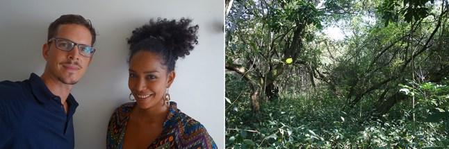 Matthias Dolder y Diana Moreno de La Bolsa. Como debut del colectivo han presentado Paisajes Alterados, un proyecto de intervención en el Jardín Botánico de Cali.